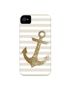 Coque Ancre Or Navire pour iPhone 4 et 4S - Monica Martinez