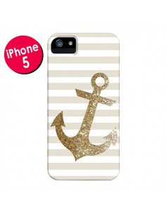 Coque Ancre Or Navire pour iPhone 5 et 5S - Monica Martinez