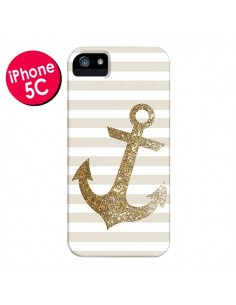 Coque Ancre Or Navire pour iPhone 5C - Monica Martinez