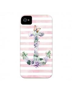 Coque Ancre Rose Fleurs Navire pour iPhone 4 et 4S - Monica Martinez
