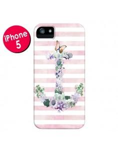 Coque Ancre Rose Fleurs Navire pour iPhone 5 et 5S - Monica Martinez