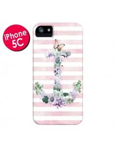 Coque Ancre Rose Fleurs Navire pour iPhone 5C - Monica Martinez