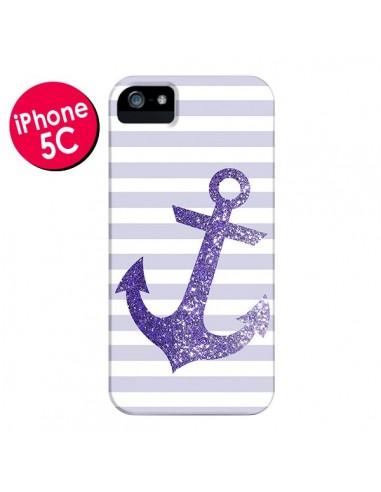 Coque Ancre Violet Navire pour iPhone 5C - Monica Martinez