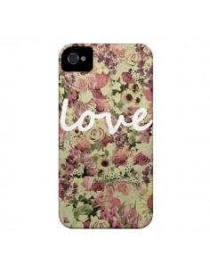 Coque Love Blanc Flower pour iPhone 4 et 4S - Monica Martinez