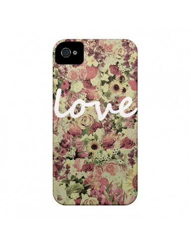 Coque Love Blanc Flower pour iPhone 4 et 4S - Monica Martinez