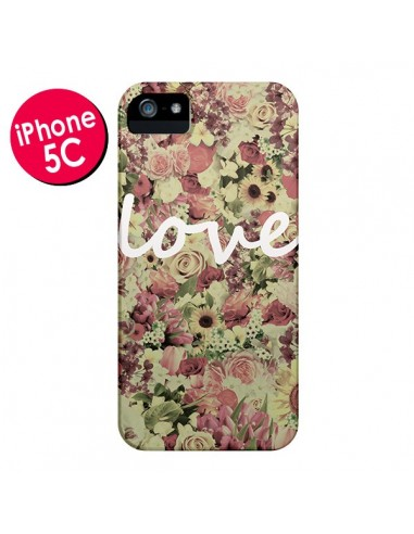 Coque Love Blanc Flower pour iPhone 5C - Monica Martinez