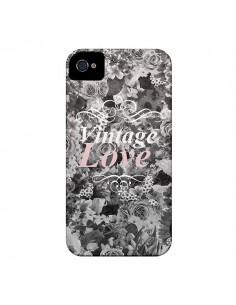 Coque Vintage Love Noir Flower pour iPhone 4 et 4S - Monica Martinez