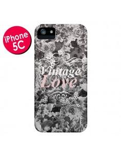 Coque Vintage Love Noir Flower pour iPhone 5C - Monica Martinez