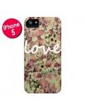 Coque Love Blanc Flower pour iPhone 5 et 5S - Monica Martinez