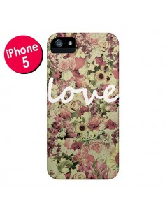 Coque Love Blanc Flower pour iPhone 5 et 5S - Monica Martinez