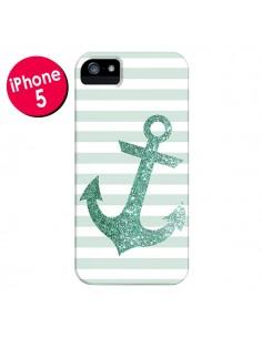 Coque Ancre Vert Navire pour iPhone 5 et 5S - Monica Martinez