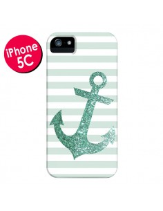 Coque Ancre Vert Navire pour iPhone 5C - Monica Martinez