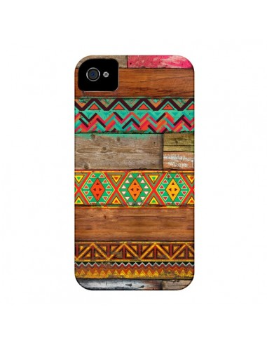Coque Indian Wood Bois Azteque pour iPhone 4 et 4S - Maximilian San