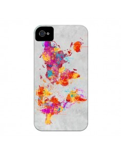 Coque Terre Map Monde Mother Earth Crying pour iPhone 4 et 4S - Maximilian San