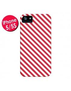 Coque Bonbon Candy Rose et Blanche Rayée pour iPhone 5 et 5S - Nico