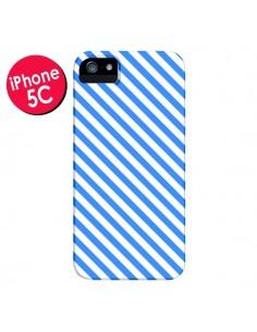 Coque Bonbon Candy Bleue et Blanche Rayée pour iPhone 5C - Nico