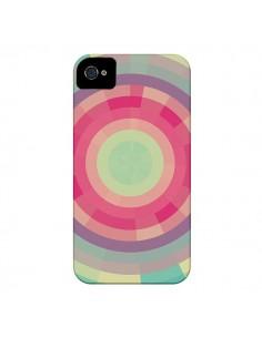 Coque Spirale de Couleurs Rose Vert pour iPhone 4 et 4S - Eleaxart