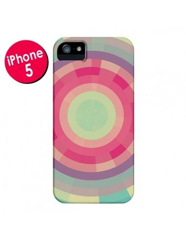Coque Spirale de Couleurs Rose Vert pour iPhone 5 et 5S - Eleaxart