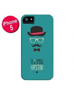 Coque Chapeau, Lunettes, Moustache, Noeud Papillon To Be a Good Hipster pour iPhone 5 et 5S - Eleaxart