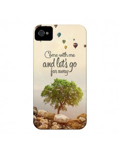 Coque Let's Go Far Away Ballons pour iPhone 4 et 4S - Eleaxart