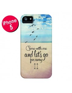 Coque Let's Go Far Away Beach Plage pour iPhone 5 et 5S - Eleaxart