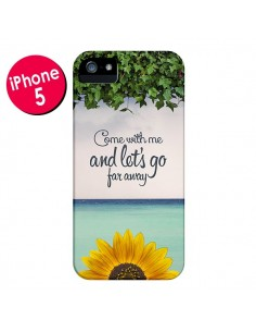 Coque Let's Go Far Away Flower Fleur Tournesol pour iPhone 5 et 5S - Eleaxart