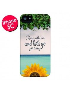 Coque Let's Go Far Away Flower Fleur Tournesol pour iPhone 5C - Eleaxart