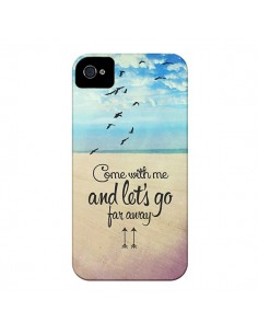 Coque Let's Go Far Away Beach Plage pour iPhone 4 et 4S - Eleaxart