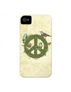 Coque Peace And Love Nature Oiseaux pour iPhone 4 et 4S - Rachel Caldwell