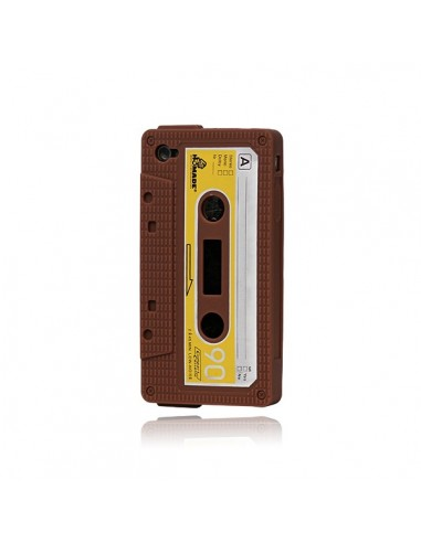 Coque Silicone Cassette Vintage pour iPhone 4/4S - Marron