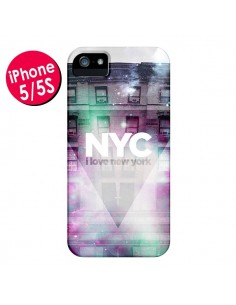 Coque I Love New York City Violet Vert pour iPhone 5 et 5S - Javier Martinez