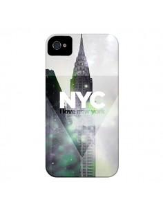 Coque I Love New York City Gris Violet Vert pour iPhone 4 et 4S - Javier Martinez