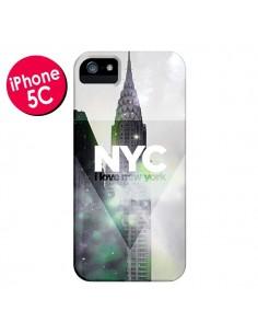Coque I Love New York City Gris Violet Vert pour iPhone 5C - Javier Martinez