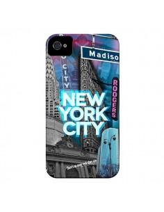 Coque New York City Buildings Bleu pour iPhone 4 et 4S - Javier Martinez