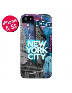 Coque New York City Buildings Bleu pour iPhone 5 et 5S - Javier Martinez