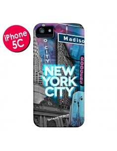 Coque New York City Buildings Bleu pour iPhone 5C - Javier Martinez
