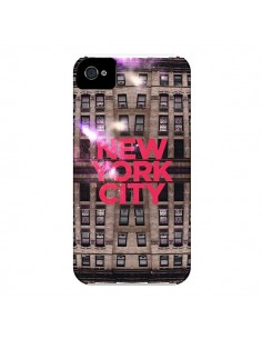 Coque New York City Buildings Rouge pour iPhone 4 et 4S - Javier Martinez