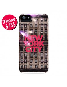 Coque New York City Buildings Rouge pour iPhone 5 et 5S - Javier Martinez