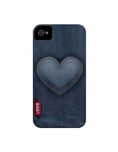 Coque Love Coeur en Jean pour iPhone 4 et 4S - Lassana