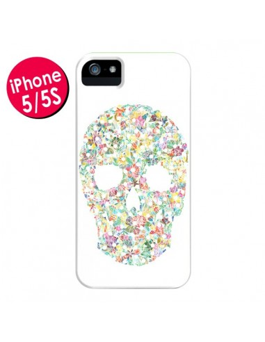 Coque Flower Skull Tête de Mort pour iPhone 5 et 5S - AlekSia