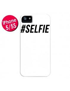 Coque Hashtag Selfie Blanc Vertical pour iPhone 5 et 5S - Jonathan Perez