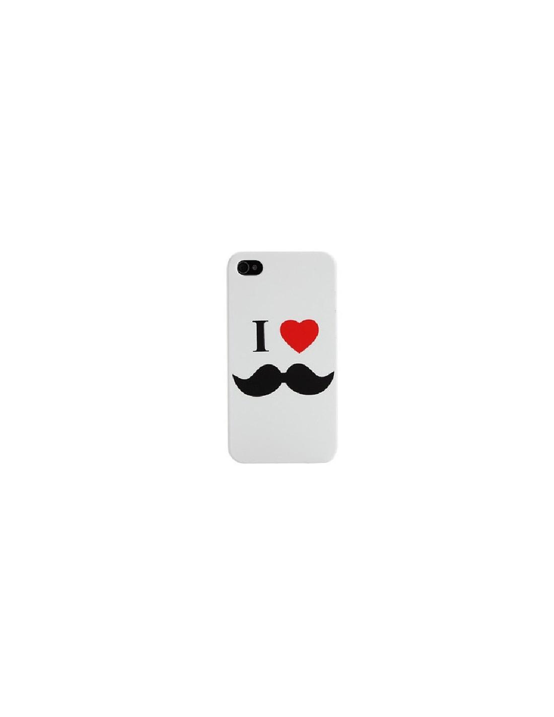 coque i love moustache pour iphone 4 4s. Black Bedroom Furniture Sets. Home Design Ideas