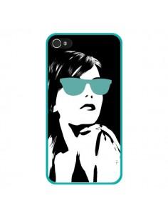 Coque Fille Lunettes Bleues pour iPhone 4 et 4S - Jonathan Perez