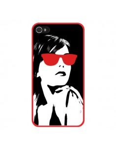Coque Fille Lunettes Rouges pour iPhone 4 et 4S - Jonathan Perez