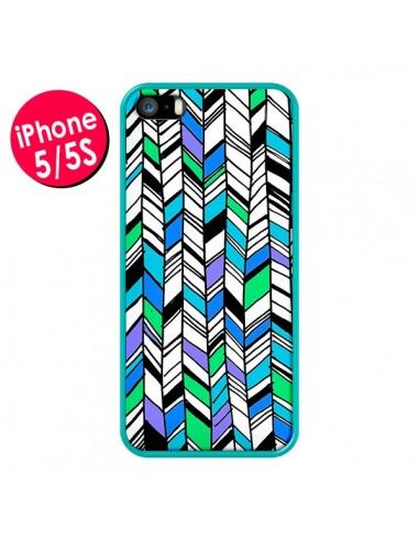 Coque Graphic Azteque Bleu Vert pour iPhone 5 et 5S - Léa Clément