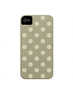 Coque Pois Polka Camel pour iPhone 4 et 4S - Mary Nesrala