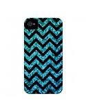 Coque Chevron Aqua Sparkle Triangle Azteque pour iPhone 4 et 4S - Mary Nesrala
