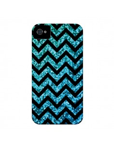Coque Chevron Aqua Sparkle Triangle Azteque pour iPhone 4 et 4S - Mary Nesrala