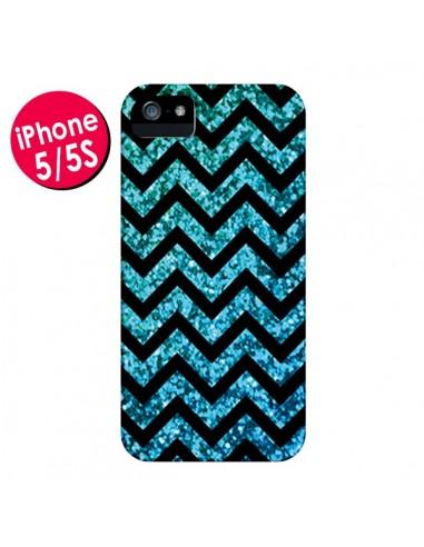 Coque Chevron Aqua Sparkle Triangle Azteque pour iPhone 5 et 5S - Mary Nesrala