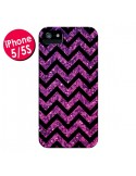 Coque Chevron Purple Sparkle Triangle Azteque pour iPhone 5 et 5S - Mary Nesrala